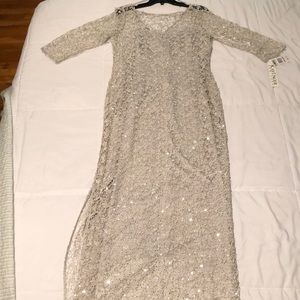 Kay Unger lace with silver silk slip sequin gown